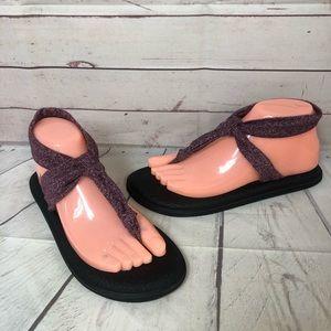 Sanuk Yoga Sling Sandals Shoes Purple 7 New Ankle